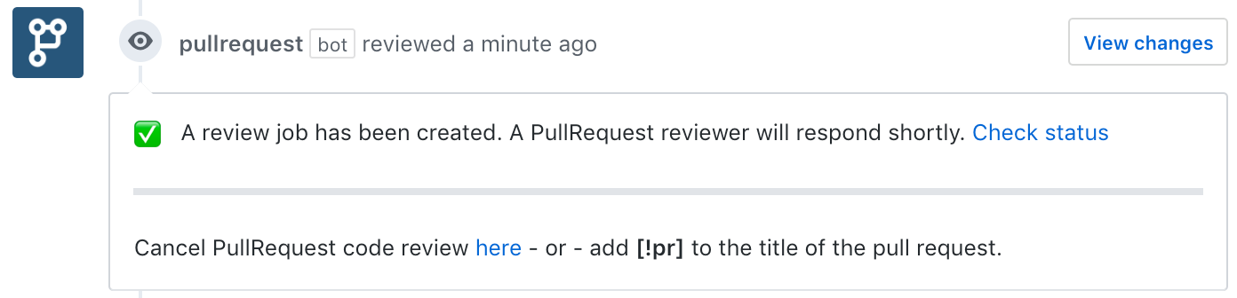 A request for code review on a GitHub pull request