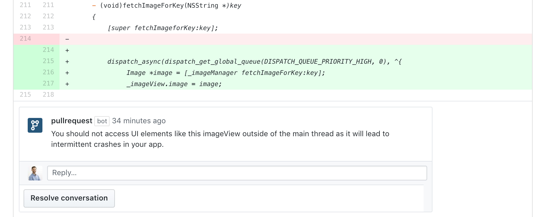 An inline code review comment on a GitHub pull request