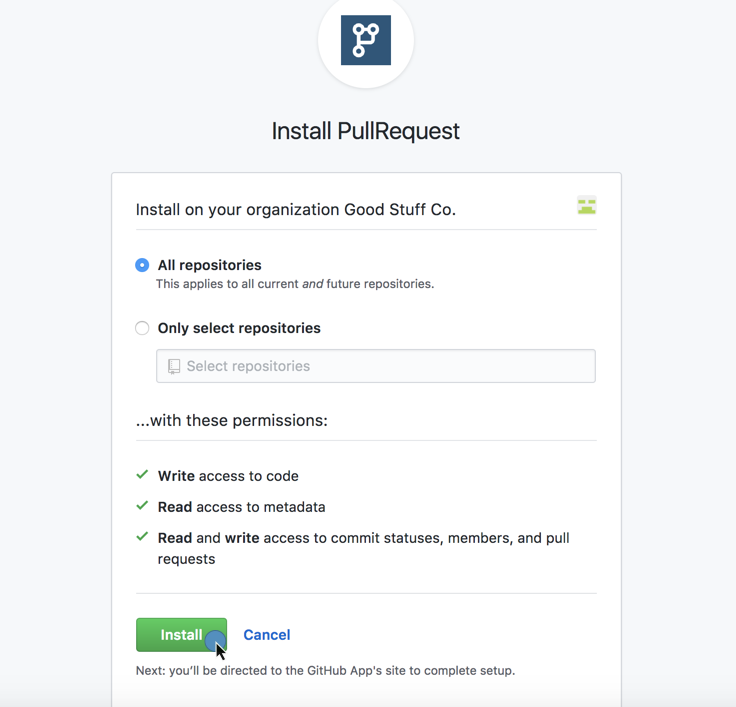 Connecting GitHub repositories to PullRequest